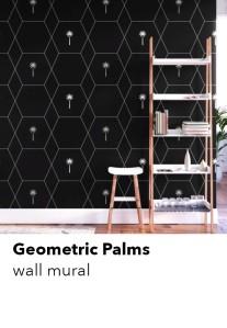 geometric-palm-pattern-mural